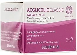 Düfte, Parfümerie und Kosmetik Feuchtigkeitsspendende Anti-Aging Gesichtscreme für trockene Haut mit 8% Glykolsäure SPF 15 - SesDerma Laboratories Acglicolic Classic Moisturizing Cream SPF 15