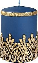 Düfte, Parfümerie und Kosmetik Dekorative Kerze mit Spitzenmuster blau 7x10 cm - Artman Lace Christmas