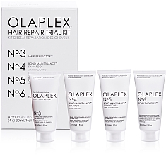 Düfte, Parfümerie und Kosmetik Regenerierendes Haarpflegeset - Olaplex Hair Repair Trial Kit (Shampoo 30ml + Haarspülung 30ml + Haarelixier 30ml + Haarcreme 30ml)