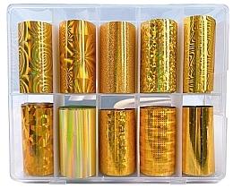 Düfte, Parfümerie und Kosmetik Transferfolien-Set zum Nageldesign 10 St. - Deni Carte Gold Holo