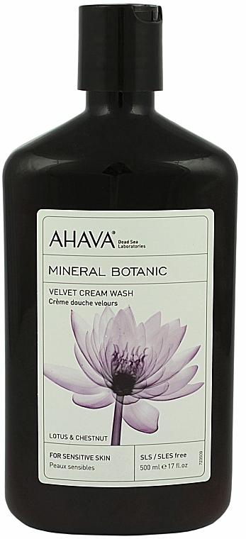 Sanfte Duschcreme mit Lotus- und Kastanienextrakt für empfindliche Haut - Ahava Mineral Botanic Velvet Cream Wash Lotus Flower & Chestnut