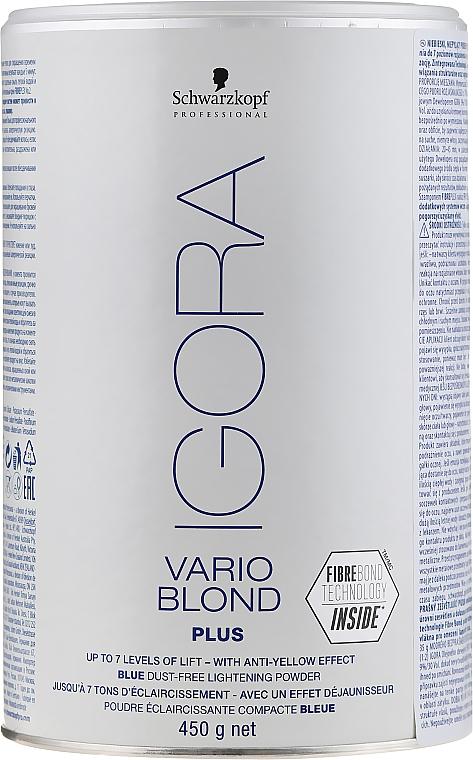Blaues staubfreies Blondierpulver - Schwarzkopf Professional Igora Vario Blond Plus