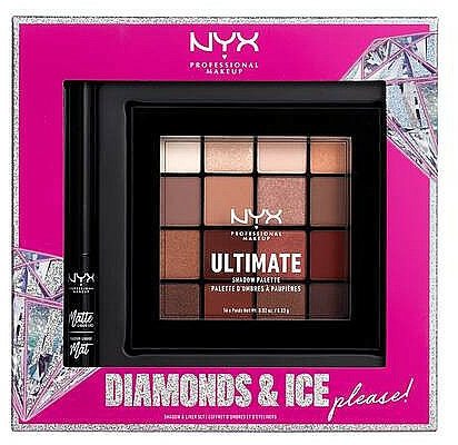 Make-up Set (Lidschattenpalette 12x1.18g + Eyeliner 2ml) - NYX Professional Makeup Diamonds & Ice Please Shadow & Liner Set