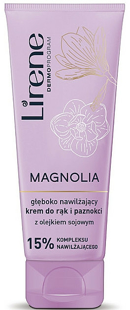 Tief feuchtigkeitsspendende Hand- und Nagelcreme mit Magnolienextrakt und Sojaöl - Lirene Magnolia Hand Cream