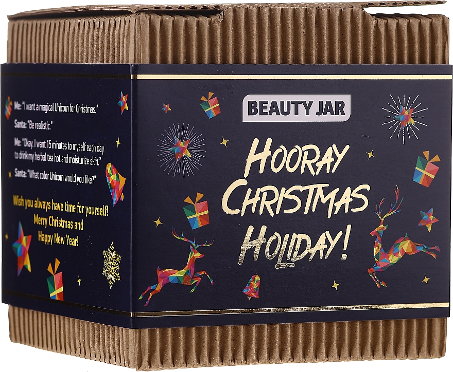 Körperpflegeset - Beauty Jar Hooray Christmas Holiday (Körperpeeling 130g + Handseife 90g)