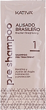 Haarpflegeset mit Keratin - Kativa Alisado Brasileno Con Glyoxylic & Keratina Vegetal Kit (Pre-Behandlung Shampoo 15ml + Behandlung zur Haarglättung 150ml + Shampoo 30ml + Conditioner 30ml + Pinsel 1St. + Handschuhe) — Bild N6
