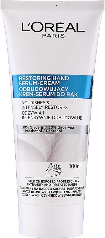 Handcreme-Serum mit Glycerin und Panthenol - L'Oreal Paris Dermo Restoring Hand Serum-Cream