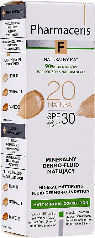 Getöntes mattierendes Gesichtsfluid SPF 30 - Pharmaceris F Mineral Mattifying Fluid Dermo-Foundation SPF 30 — Bild N1