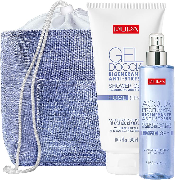 Körperpflegeset - Pupa Home Spa Regenerating Anti-Stress Pearl Powder (Duschgel 300ml + Aromatisiertes Wasser 150ml + Kosmetiktasche)