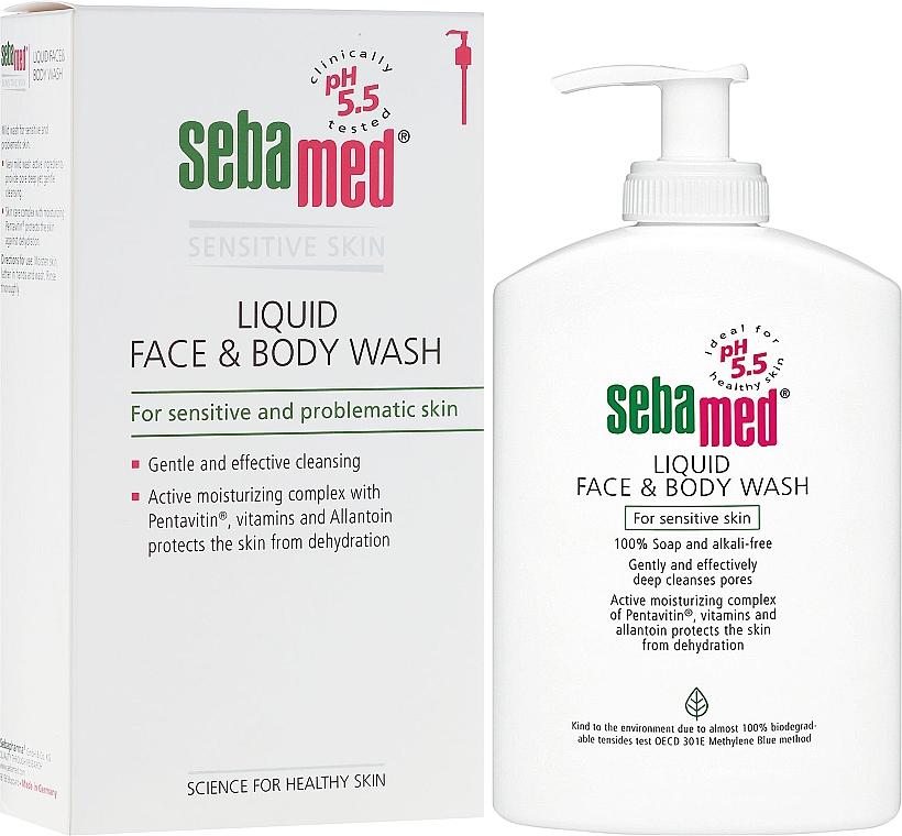 Gesichts- und Körperreinigungslotion für empfindliche Haut mit Olive - Sebamed Liquid Face and Body Wash