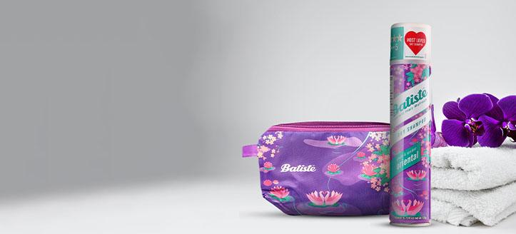 Beim Kauf von Batiste-Produkten ab 7 € erhalten Sie eine Kosmetiktasche geschenkt