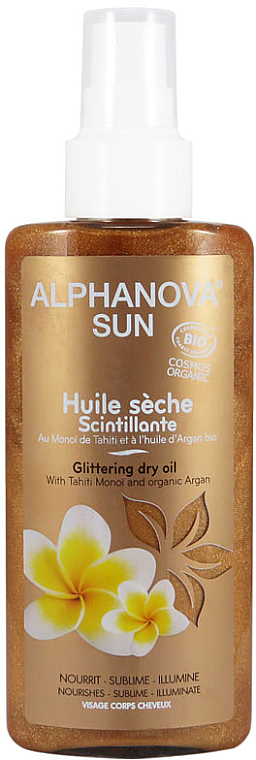 Bräunungsöl für den Körper mit Bronze-Effekt - Alphanova Sun Oil Dry Sparkling