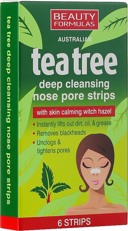 Tiefenreinigende Nasenporenstreifen mit Teebaum - Beauty Formulas Tea Tree Deep Cleansing Nose Pore Strips