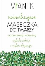 Düfte, Parfümerie und Kosmetik Normalisierende Gesichtsmaske mit grünem Ton und Aktivkohle - Vianek