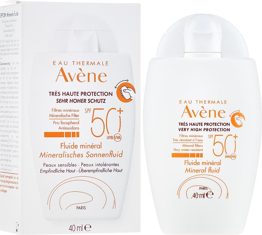 Mineralisches Sonnenschutzfluid für überempfindliche Gesichtshaut ohne chemische Filter SPF 50+ - Avene Eau Thermale Mineral Fluid SPF 50+ — Bild N1