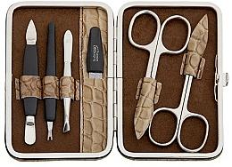 Düfte, Parfümerie und Kosmetik Maniküre-Set 6-tlg. beige mit Krokodilmuster - DuKaS Premium Line PL 126BK