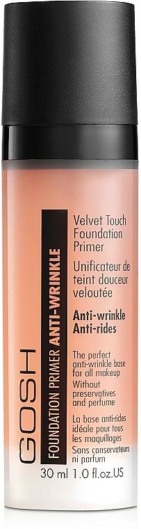 Anti-Falten parfümfreie Foundation - Gosh Velvet Touch Foundation Primer Anti-Wrinkle Apricot — Bild N1