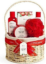 Düfte, Parfümerie und Kosmetik Körperpflegeset - IDC Institute Vintage Fruits (Duschgel 160ml + Körperlotion 160ml + Körperpeeling 110ml + Badesalz 100g + Badeschwamm + Korb)