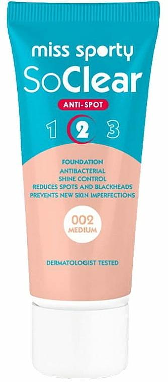 Antibakterielle Foundation für unreine Haut - Miss Sporty Foundation So Clear Anti Spot 2