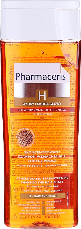Nährendes Schampoo mit grünem Tee und Vitamin B5 - Pharmaceris H H-Keratineum Concentrated Strengthening Shampoo For Weak Hair