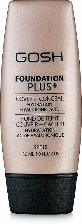 Feuchtigkeitsspendende Grundierung mit Hyaluronsäure LSF 15 - Gosh Foundation Plus SPF 15