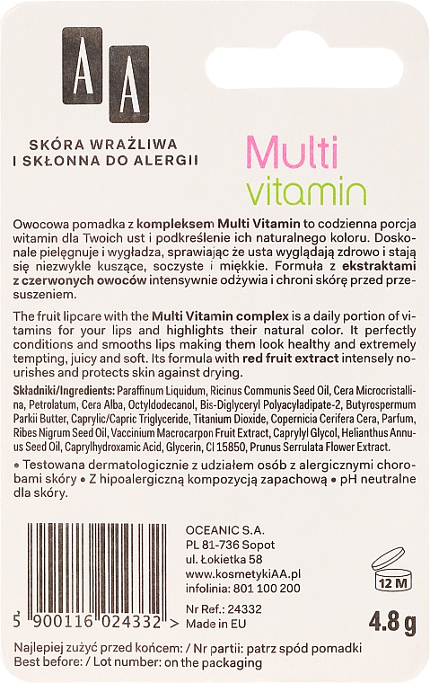 Schützender Lippenbalsam mit roten Früchten - AA Multi Vitamin Protective Lipstick — Bild N2