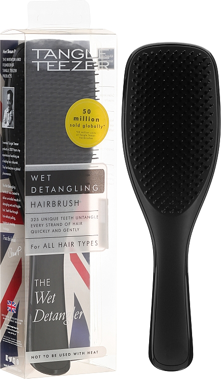 Haarbürste schwarz - Tangle Teezer The Wet Detangler Liquorice Black Standard Size Hairbrush