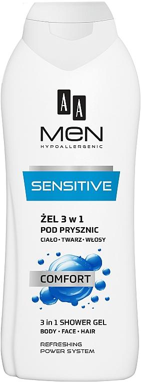 3in1 Duschgel für Körper, Gesicht und Haar Comfort - AA Men 3 in 1 Shower Gel Sensitive Comfort