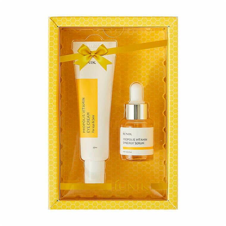 Gesichtspflegeset - iUNIK Propolis Vitamin Eye Cream Set (Augencreme 30ml + Gesichtsserum 15ml) — Bild N1