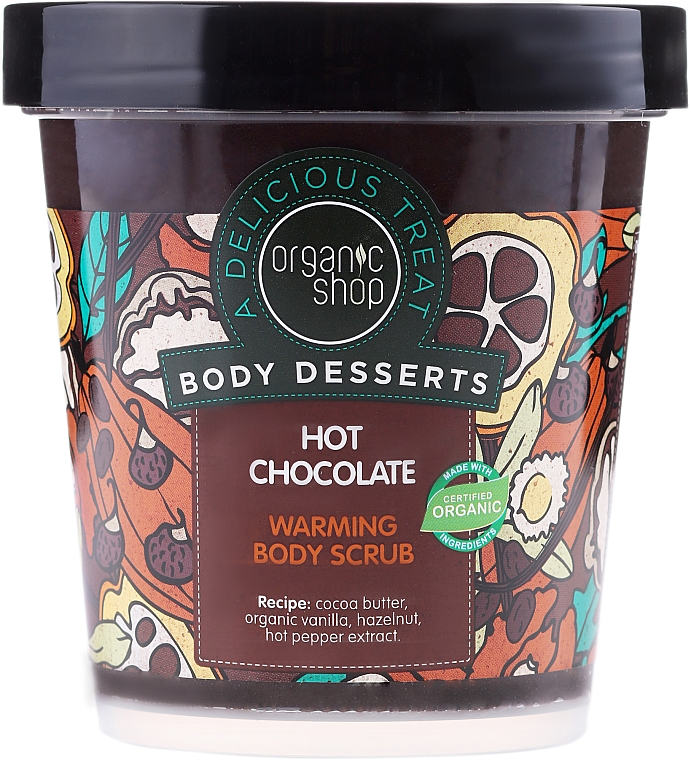 Wärmender Körperpeeling mit Bio Kakaobutter und Chili-Extrakt - Organic Shop Body Desserts Hot Chocolate
