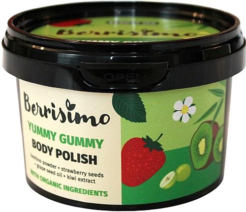 Körperpeeling mit Bambuspulver, Kiwiextrakt, Traubenkernöl und Erdbeersamen - Berrisimo Yummy Gummy Body Polish