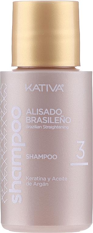 Haarpflegeset mit Keratin - Kativa Alisado Brasileno Con Glyoxylic & Keratina Vegetal Kit (Pre-Behandlung Shampoo 15ml + Behandlung zur Haarglättung 150ml + Shampoo 30ml + Conditioner 30ml + Pinsel 1St. + Handschuhe) — Bild N3