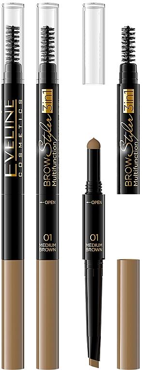 3in1 Augenbrauenstift mit Puder und Bürste - Eveline Cosmetics Brow Styler 3in1 Multifunction