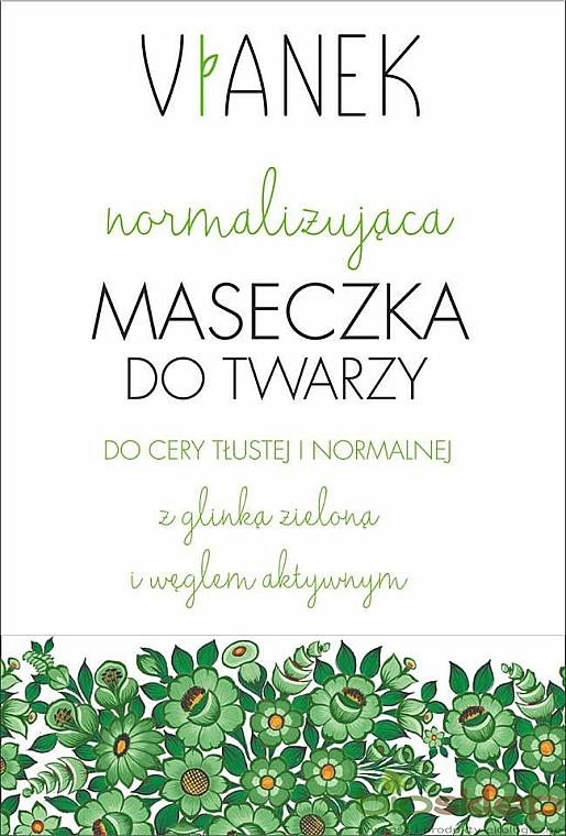 Normalisierende Gesichtsmaske mit grünem Ton und Aktivkohle - Vianek