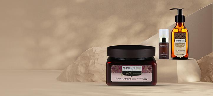 Beim Kauf von zwei Arganicare Produkten erhalten Sie eine Haarmaske mit Seidenprotein geschenkt