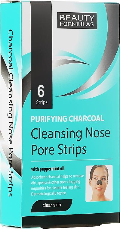 Nasenporenstreifen gegen Mitesser mit Aktivkohle und Pfefferminzöl - Beauty Formulas Purifying Charcoal Deep Cleansing Nose Pore