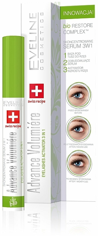 Aktives Wimpernserum 3 in 1 - Eveline Cosmetics Cosmetics Eyelashes Concentrated Serum 3in1