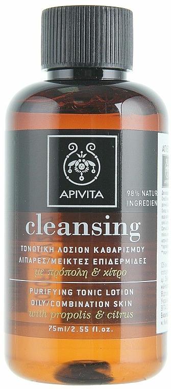 Gesichtsreinigungslotion mit Propolis und Zitrusfrüchten für fettige und Mischhaut - Apivita Purifying Tonic Lotion