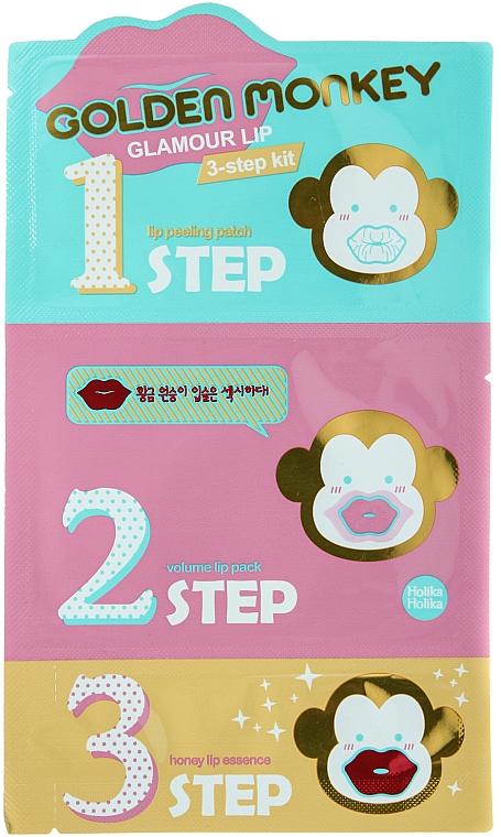 Lippenpflege-Set - Holika Holika Golden Monkey Glamour Lip 3-Step Kit