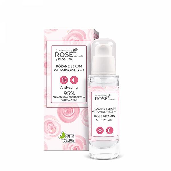 Anti-Aging Gesichtsserum mit Pfingstrosen-Extrakt und Vitamin A und E - Floslek Rose For Skin Rose Gardens Rose Vitamin Serum 3 in 1