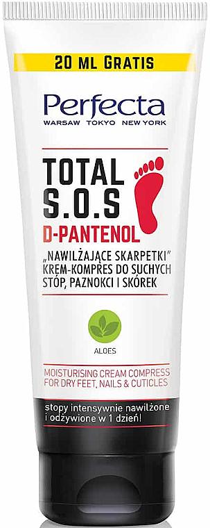 Feuchtigkeitsspendende Creme-Kompresse für trockene Füße, Nägel und Nagelhäute - Perfecta Total S.O.S. D-Pantenol