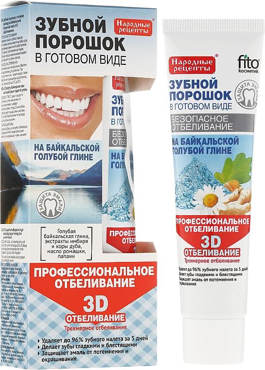 3D Aufhellendes Zahnpulver mit blauer Tonerde aus dem Baikalsee - Fito Kosmetik Volksrezepte