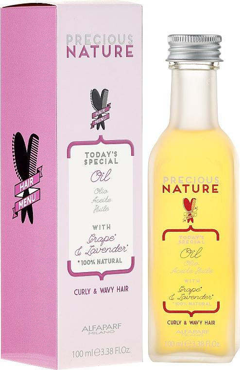 Leichtes Öl für lockiges und welliges Haar mit Traube und Lavendel - Alfaparf Precious Nature Oil Curly & Wavy Hair Grape & Lavender