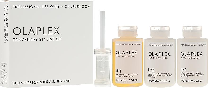 Professionelle Haarkur zur Unterstützung bei Colorieren und Blondieren der Haare - Olaplex Traveling Stylist Kit (1x Bond Multiplier 100ml + 2x Bond Perfector je100ml)