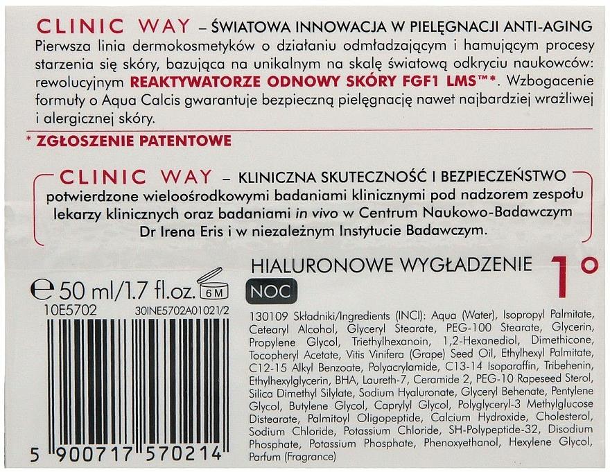 Glättende Anti-Falten Nachtcreme mit Hyaluronsäure - Dr Irena Eris Clinic Way 1° anti-wrinkle care — Bild N2