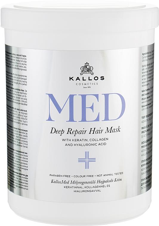 Regenerierende Haarmaske mit Keratin, Kollagen und Hyaluronsäure für trockenes und strapaziertes Haar - Kallos Cosmetics MED Deep Repair Hair Mask