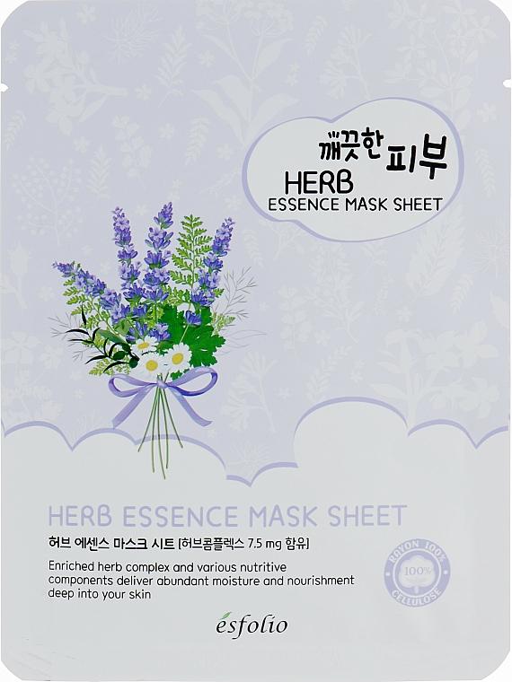 Pflegende Tuchmaske für das Gesicht mit Kräuterextrakt - Esfolio Pure Skin Essence Herb Mask Sheet