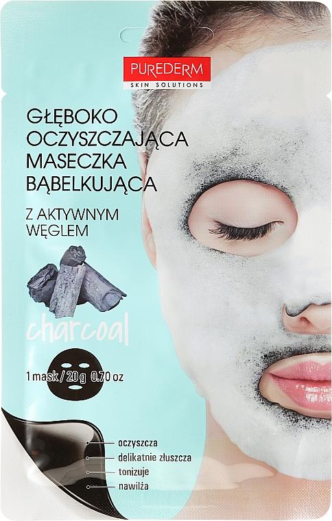 Tiefenreinigende Schaummaske für Gesicht mit Sauerstoff und Aktivkohle - Purederm Deep Purifying Black O2 Bubble Mask Charcoal
