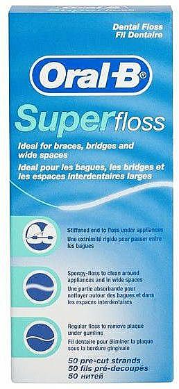 Kieferorthopädische Zahnseide zur Reinigung von Zahnspangen, Brücken und größeren Zahnzwischenräumen - Oral-B Super Floss
