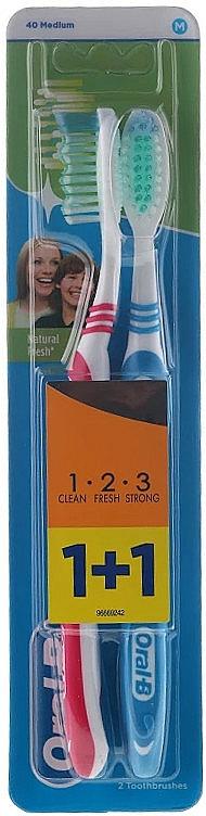 Zahnbürste mittel 1 2 3 Natural Fresh rot, blau 2 St. - Oral-B 1 2 3 Natural Fresh 40 Medium